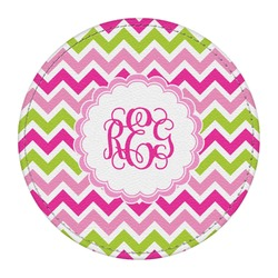 Pink & Green Chevron Round Desk Weight - Genuine Leather  (Personalized)
