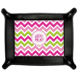 Pink & Green Chevron Genuine Leather Valet Tray (Personalized)