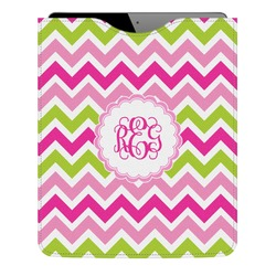 Pink & Green Chevron Genuine Leather iPad Sleeve (Personalized)
