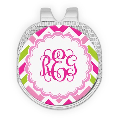 Pink & Green Chevron Golf Ball Marker - Hat Clip