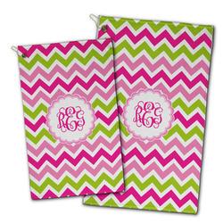 Pink & Green Chevron Golf Towel - Full Print w/ Monogram