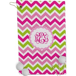 Pink & Green Chevron Golf Towel - Full Print (Personalized)