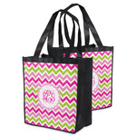 Pink & Green Chevron Grocery Bag (Personalized)