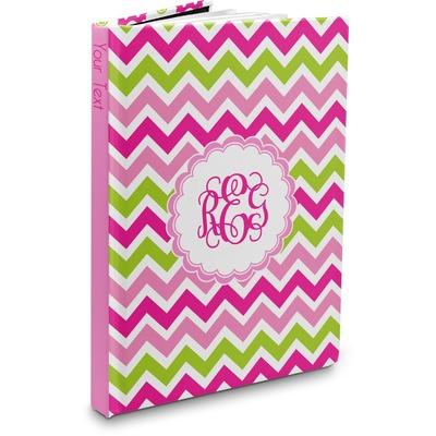 Pink & Green Chevron Hardbound Journal (Personalized)