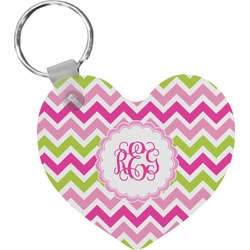 Pink & Green Chevron Heart Keychain (Personalized)