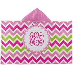 Pink & Green Chevron Kids Hooded Towel (Personalized)