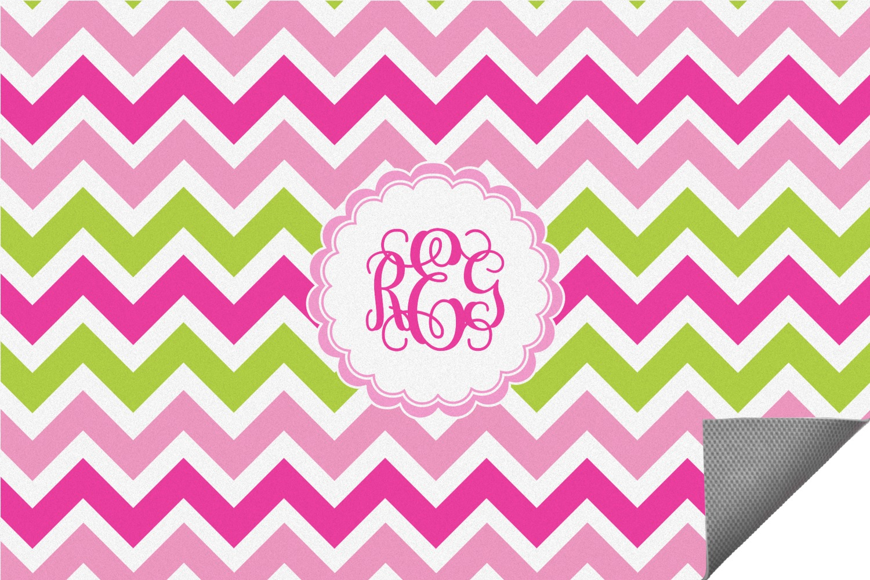 Pink & Green Chevron Indoor / Outdoor Rug (Personalized ...