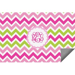Pink & Green Chevron Indoor / Outdoor Rug (Personalized)