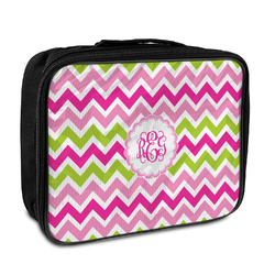 Pink & Green Chevron Insulated Lunch Bag (Personalized)