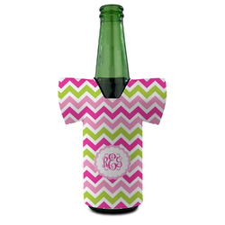 Pink & Green Chevron Bottle Cooler (Personalized)