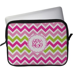 """Pink & Green Chevron Laptop Sleeve / Case - 15"""" (Personalized)"""