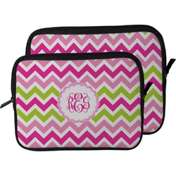 Pink & Green Chevron Laptop Sleeve / Case (Personalized)