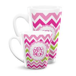 Pink & Green Chevron Latte Mug (Personalized)