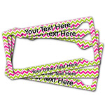 Pink & Green Chevron License Plate Frame (Personalized)