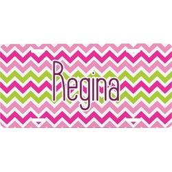 Pink & Green Chevron Front License Plate (Personalized)