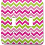 Pink & Green Chevron Light Switch Cover (2 Toggle Plate) (Personalized)