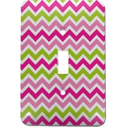 Pink & Green Chevron Light Switch Cover (Single Toggle) (Personalized)
