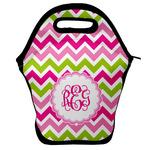 Pink & Green Chevron Lunch Bag w/ Monogram