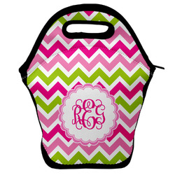 Pink & Green Chevron Lunch Bag (Personalized)