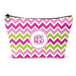 Pink & Green Chevron Makeup Bags (Personalized)
