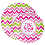 Pink & Green Chevron Melamine Plate (Personalized)