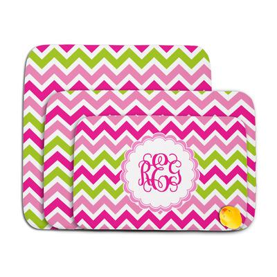 Pink & Green Chevron Memory Foam Bath Mat (Personalized)