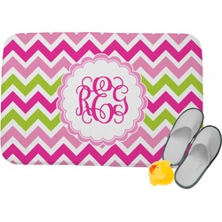 Pink & Green Chevron Memory Foam Bath Mat (Personalized)