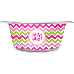 Pink & Green Chevron Stainless Steel Dog Bowl (Personalized)