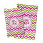 Pink & Green Chevron Microfiber Golf Towel (Personalized)