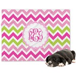 Pink & Green Chevron Minky Dog Blanket (Personalized)