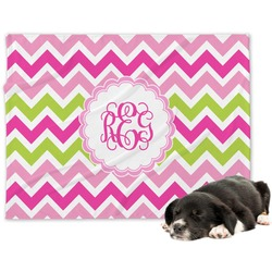 Pink & Green Chevron Minky Dog Blanket (Personalized)