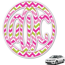 Pink & Green Chevron Monogram Car Decal (Personalized)
