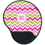 Pink & Green Chevron Mouse Pad with Wrist Support
