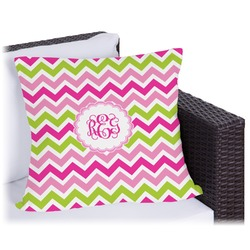 Pink & Green Chevron Outdoor Pillow (Personalized)