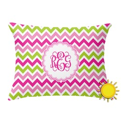 Pink & Green Chevron Outdoor Throw Pillow (Rectangular) (Personalized)