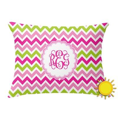 Pink & Green Chevron Outdoor Throw Pillow (Rectangular) (Personalized)
