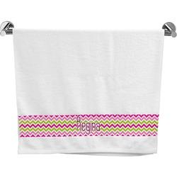 Pink & Green Chevron Bath Towel (Personalized)