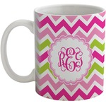 Pink & Green Chevron Coffee Mug (Personalized)
