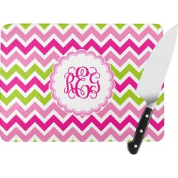 Pink & Green Chevron Rectangular Glass Cutting Board (Personalized)