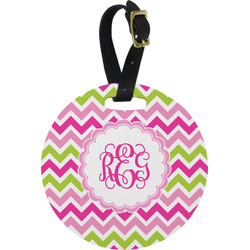 Pink & Green Chevron Round Luggage Tag (Personalized)