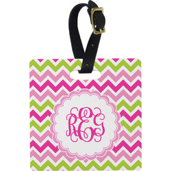 Pink & Green Chevron Luggage Tags (Personalized)