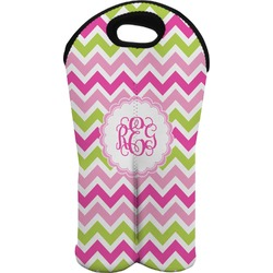 Pink & Green Chevron Wine Tote Bag (2 Bottles) (Personalized)