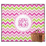 Pink & Green Chevron Outdoor Picnic Blanket (Personalized)