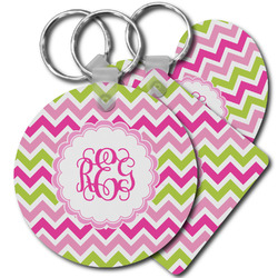 Pink & Green Chevron Plastic Keychains (Personalized)