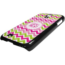 Pink & Green Chevron Plastic Samsung Galaxy 4 Phone Case (Personalized)