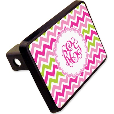 """Pink & Green Chevron Rectangular Trailer Hitch Cover - 2"""" (Personalized)"""