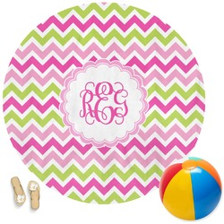 Pink & Green Chevron Round Beach Towel (Personalized)