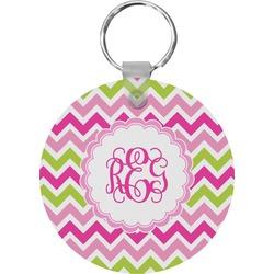 Pink & Green Chevron Round Keychain (Personalized)