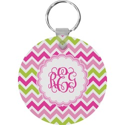 Pink & Green Chevron Keychains - FRP (Personalized)