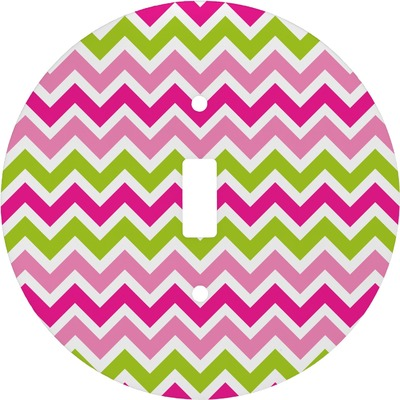 Pink & Green Chevron Round Light Switch Cover (Personalized)